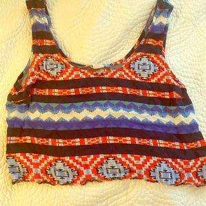 Blue red white Aztec looking LA Hearts crop top
